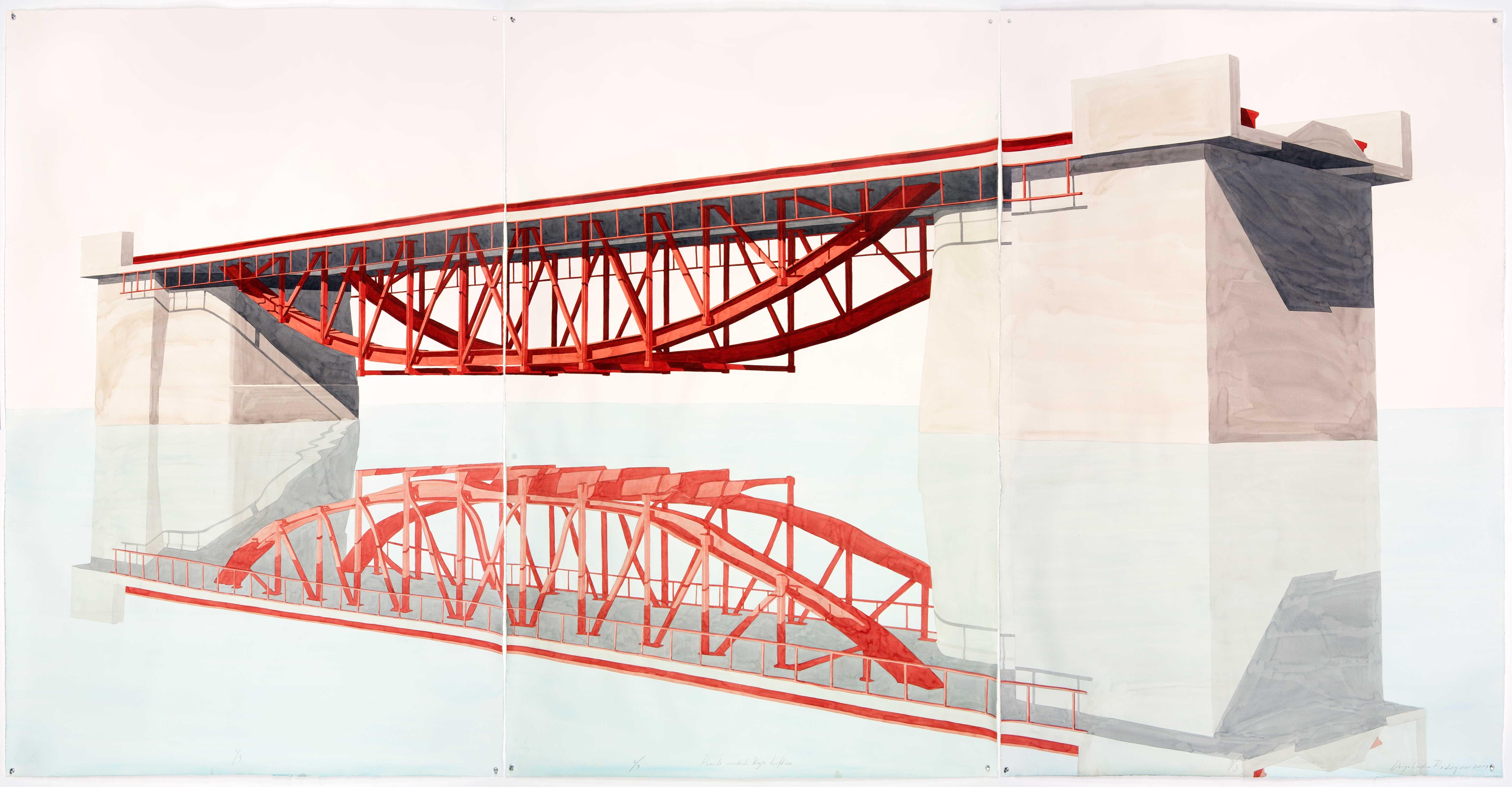 Puente invertido rojo, Tríptico